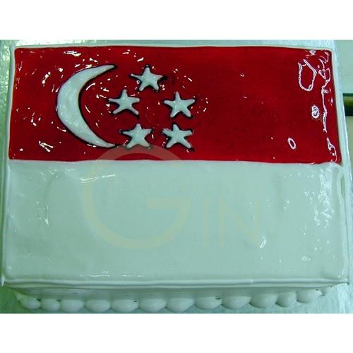 Cake Promotion Singapore Oc1151-singapore Flag Cake