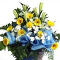 QF0847-lilies daisies wreath