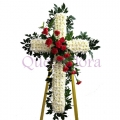 QF0875-singapore cross wreath funeral flower stand