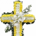 QF0882-singapore cross wreath funeral flower stand