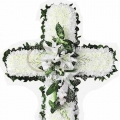 QF0883-singapore cross wreath funeral flower stand