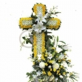 QF0884-singapore cross wreath funeral flower stand