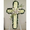 QF0887-singapore cross wreath funeral flower stand