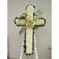 QF0888-singapore cross wreath funeral flower stand