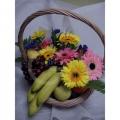 QF1147-Mixed Daisies Gerberas Fruits Basket
