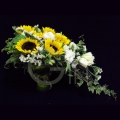 QF1169-sunflowers glass