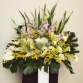 QF1236-white lilies  gerberas wreath