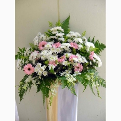 QFFS02-White Pom Pom Pink Gerberas Wreath